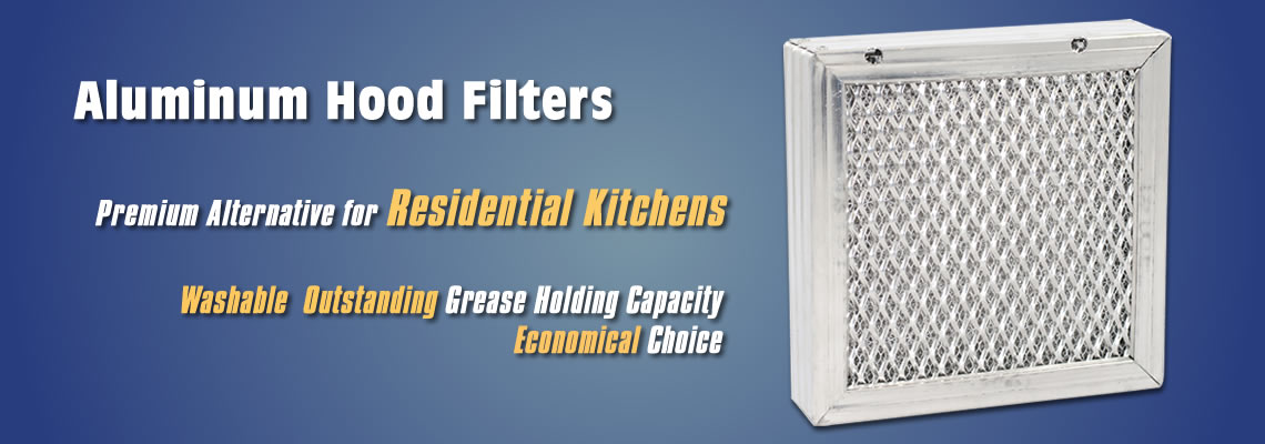 Aluminum hood filter suitable for residential kitchen.