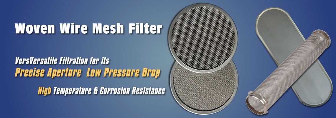 Woven wire mesh filters be supplied with discs, cylinders and ovals.