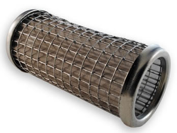 Cylindrical fibre filter with coarse wire mesh outside