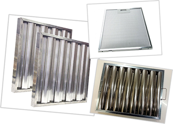 Frequently used kitchen hood filters - baffle filters & aluminum filters