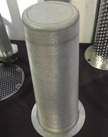 Sintered mesh basket filter with flange