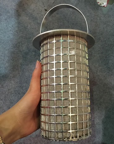 Stainless steel basket filter with perforated basket support
