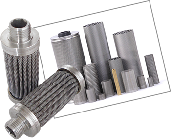 Stainless steel cartridge filters with pleated or plain filtration surface