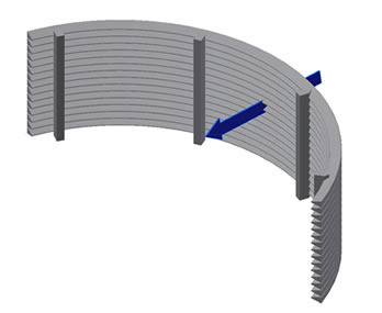 Wedge wire radical external opening