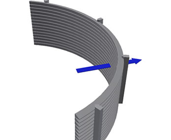 Wedge screen with radical internal opening
